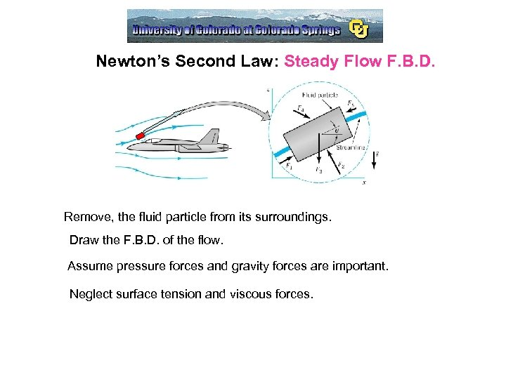 Newton's Second Law: Steady Flow F. B. D. Remove, the fluid particle from its