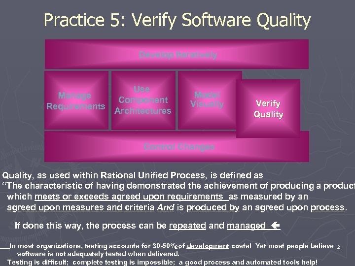 Practice 5: Verify Software Quality Develop Iteratively Manage Requirements Use Component Architectures Model Visually