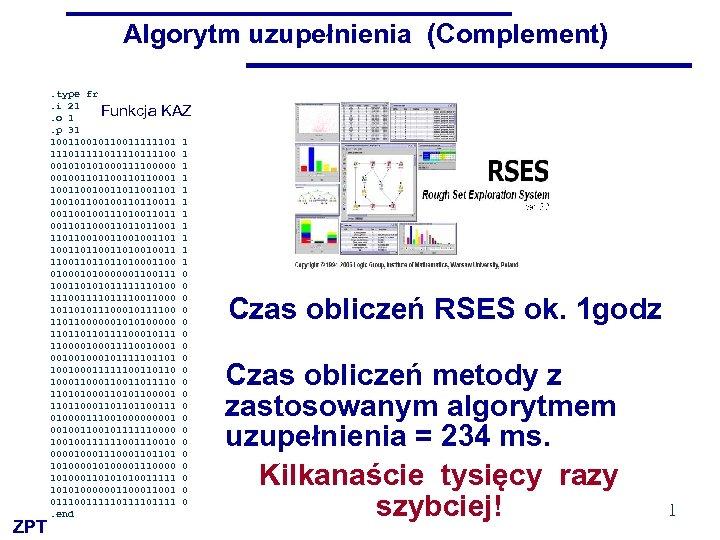 Algorytm uzupełnienia (Complement). type fr. i 21. o 1. p 31 100101100111111011110111100 00101000111100000 00100110110001