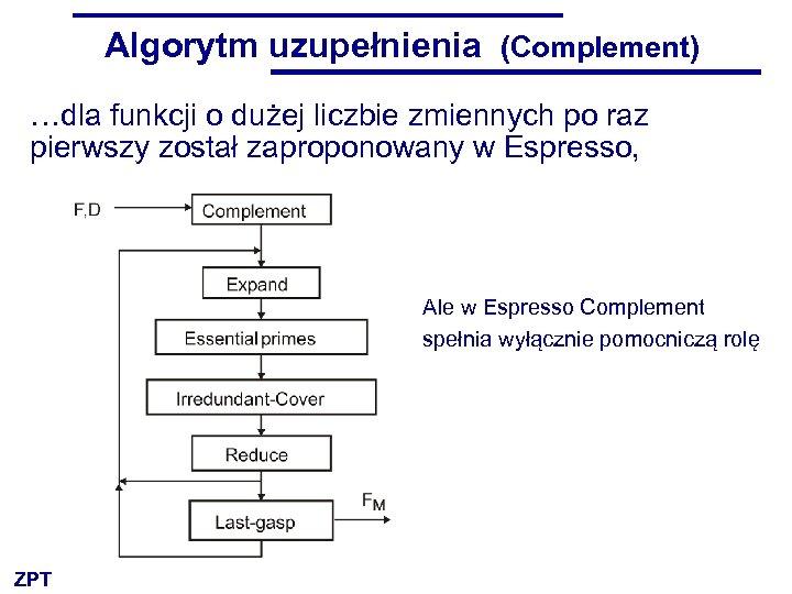 Algorytm uzupełnienia (Complement) …dla funkcji o dużej liczbie zmiennych po raz pierwszy został zaproponowany