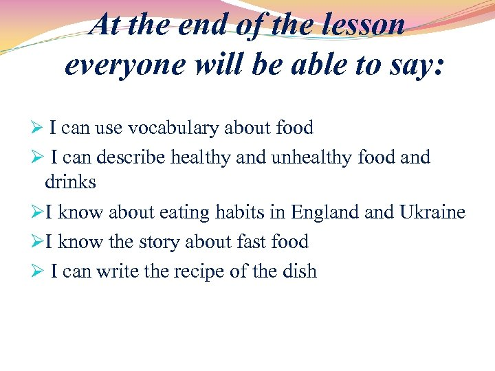 Food and Drinks The Recipes 7 th form