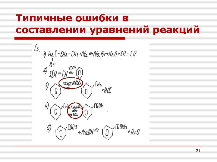Типичные ошибки в составлении уравнений реакций 121