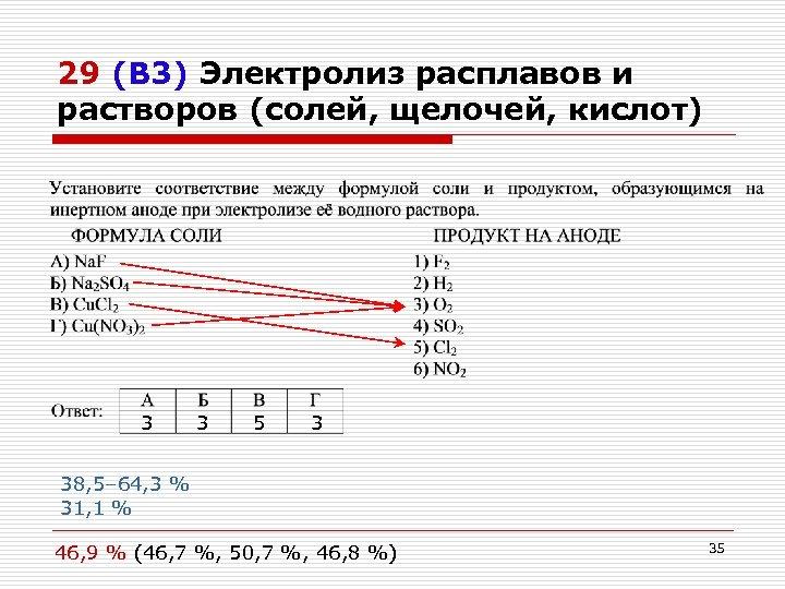 29 (В 3) Электролиз расплавов и растворов (солей, щелочей, кислот) 3 3 5 3