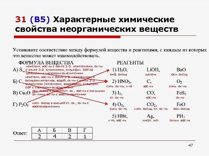 31 (В 5) Характерные химические свойства неорганических веществ неметалл, вос-ль с более Э. О.