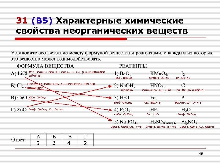 31 (В 5) Характерные химические свойства неорганических веществ соль сильн. осн-я и сильн. к-ты,