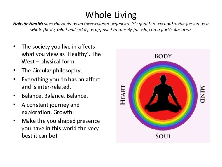 Whole Living Holistic Health sees the body as an inter-related organism. It's goal is