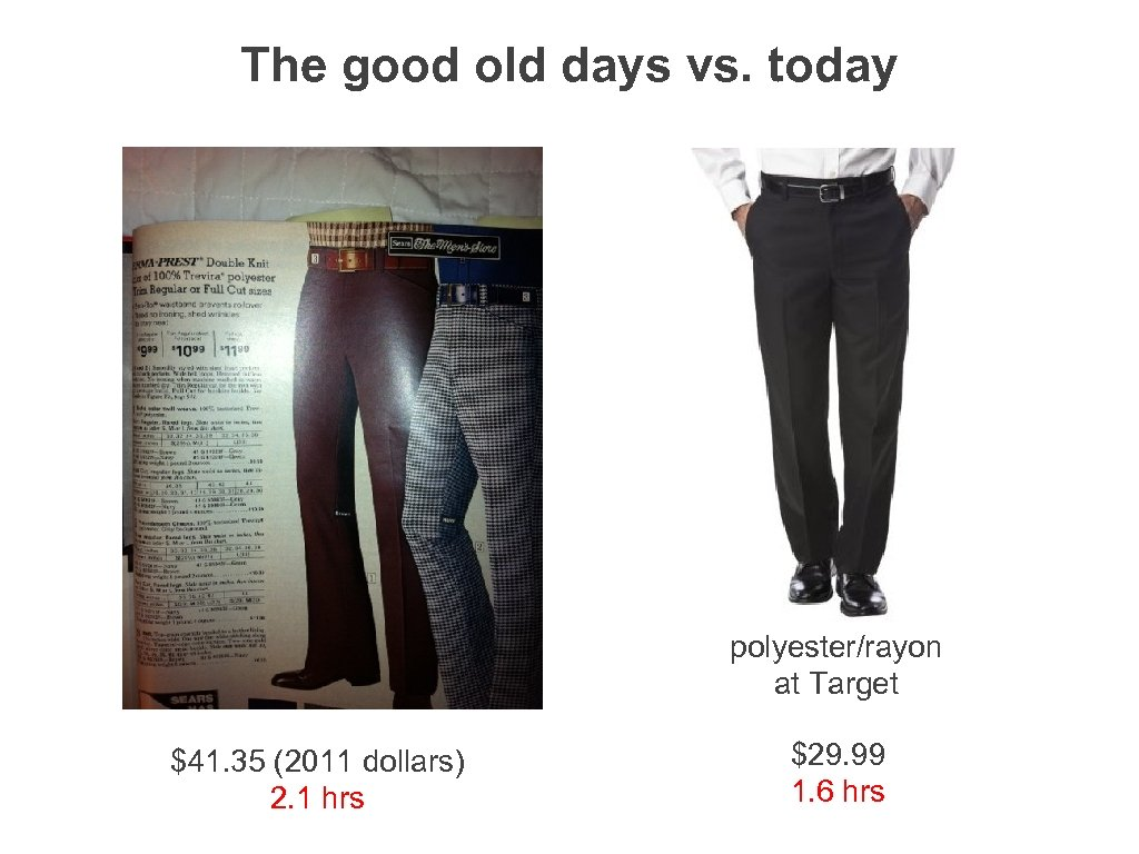 The good old days vs. today polyester/rayon at Target $41. 35 (2011 dollars) 2.