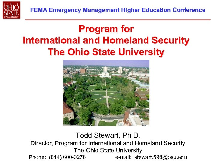 FEMA Emergency Management Higher Education Conference Program for International and Homeland Security The Ohio