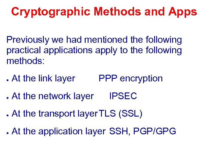 Cryptographic Methods and Apps Previously we had mentioned the following practical applications apply to