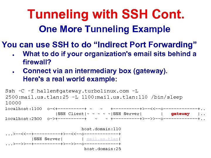 Tunneling with SSH Cont. One More Tunneling Example You can use SSH to do