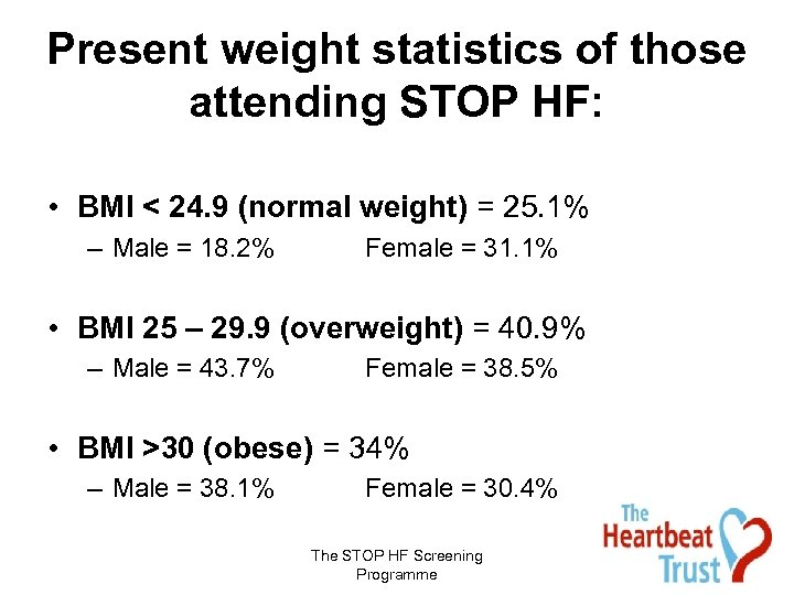Present weight statistics of those attending STOP HF: • BMI < 24. 9 (normal