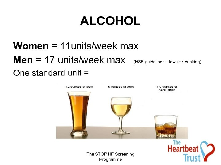 ALCOHOL Women = 11 units/week max Men = 17 units/week max (HSE guidelines –