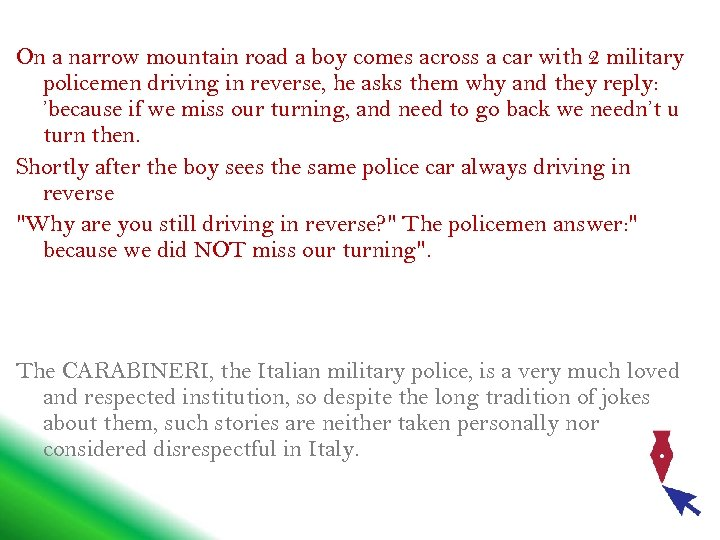 On a narrow mountain road a boy comes across a car with 2 military