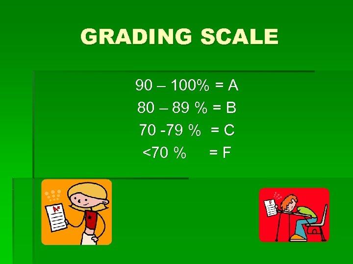 GRADING SCALE 90 – 100% = A 80 – 89 % = B 70