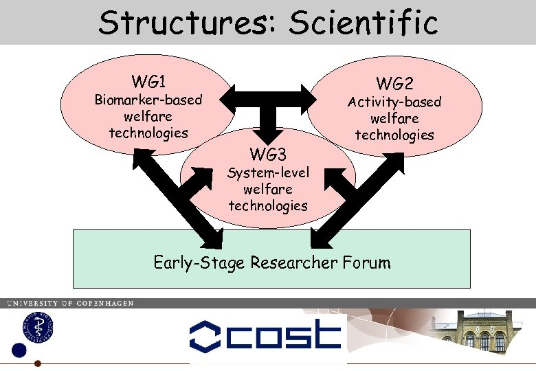 Structures: Scientific WG 1 WG 2 Biomarker-based welfare technologies WG 3 Activity-based welfare technologies