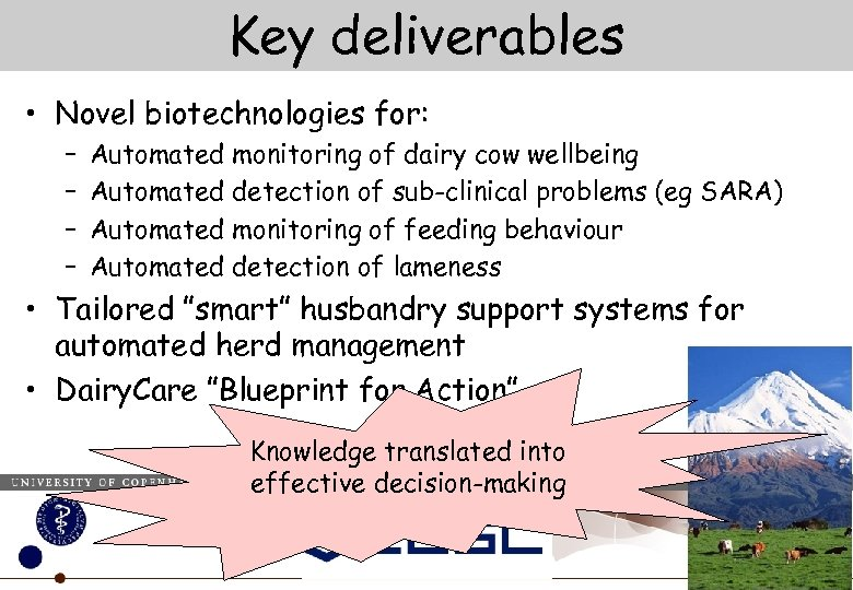 Key deliverables • Novel biotechnologies for: – – Automated monitoring of dairy cow wellbeing