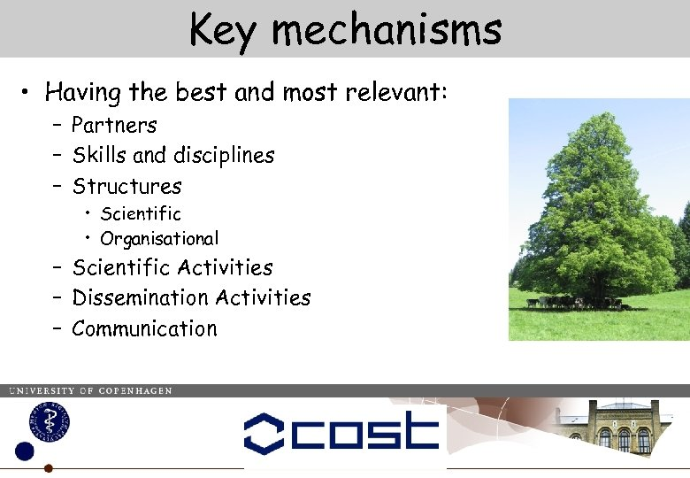 Key mechanisms • Having the best and most relevant: – Partners – Skills and