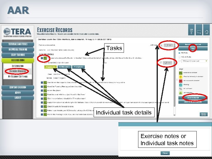 AAR Tasks Individual task details Exercise notes or Individual task notes