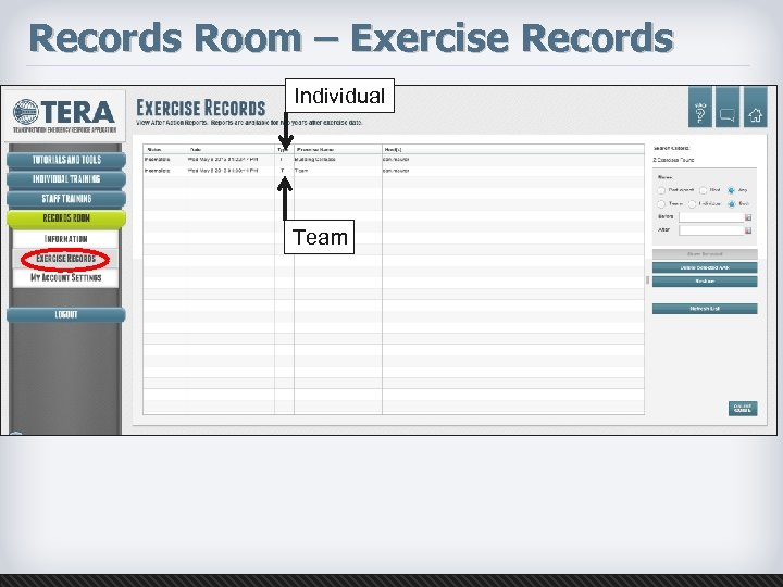 Records Room – Exercise Records Individual Team