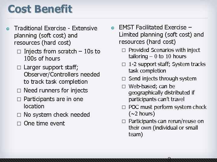 Cost Benefit Traditional Exercise - Extensive planning (soft cost) and resources (hard cost) ¨