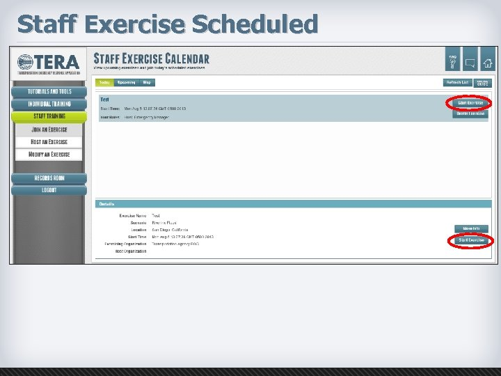 Staff Exercise Scheduled