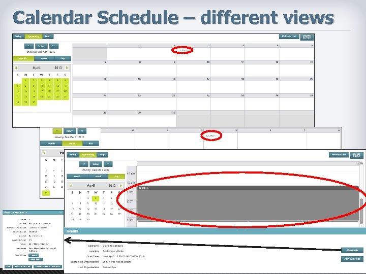 Calendar Schedule – different views