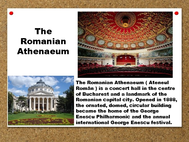 The Romanian Athenaeum ( Ateneul Român ) is a concert hall in the centre