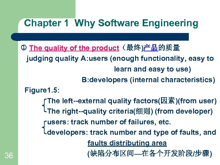 Chapter 1 Why Software Engineering The quality of the product(最终)产品的质量 judging quality A: users