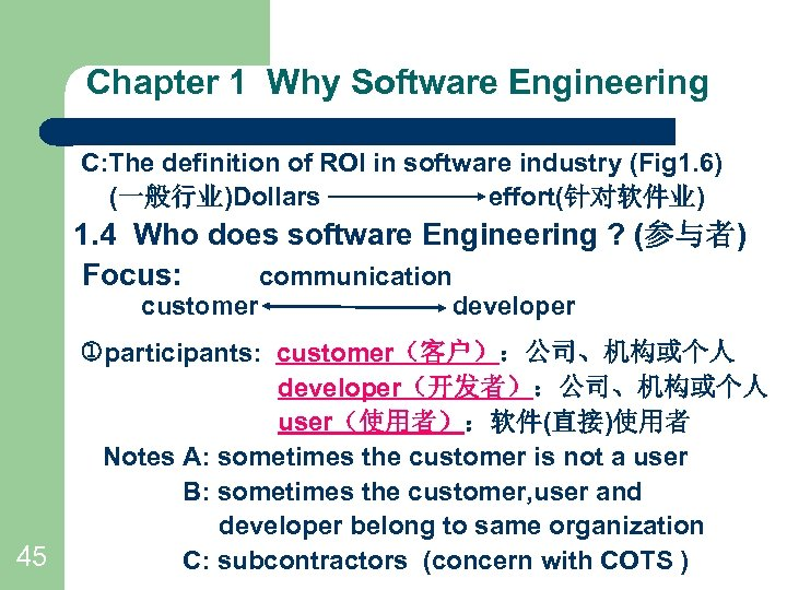 Chapter 1 Why Software Engineering C: The definition of ROI in software industry (Fig