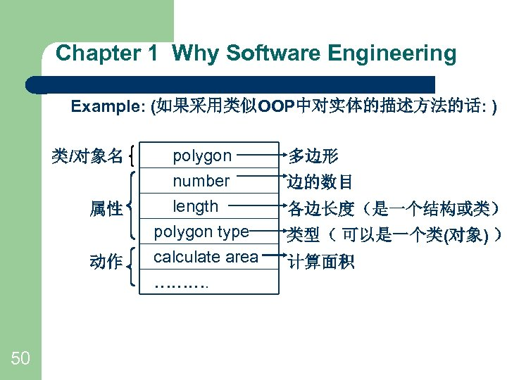 Chapter 1 Why Software Engineering Example: (如果采用类似OOP中对实体的描述方法的话: ) 类/对象名 属性 动作 50 polygon number