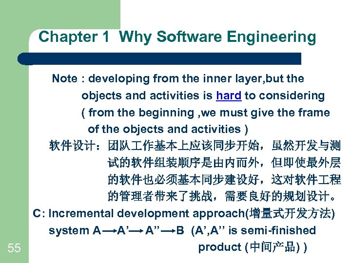 Chapter 1 Why Software Engineering Note : developing from the inner layer, but the