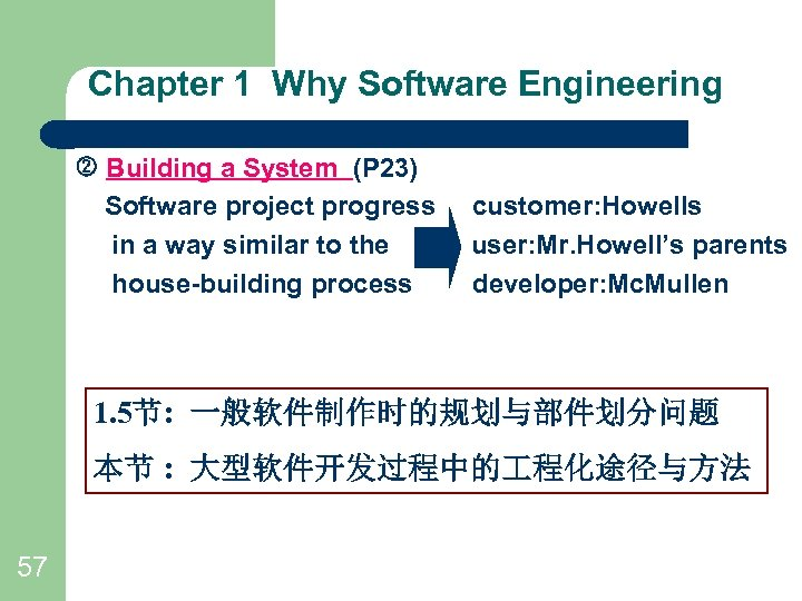Chapter 1 Why Software Engineering Building a System (P 23) Software project progress in