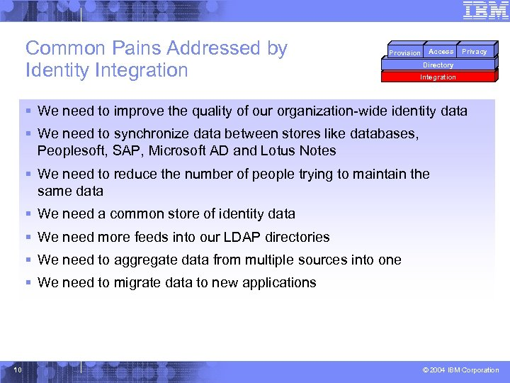 Common Pains Addressed by Identity Integration Provision Access Privacy Directory Integration § We need