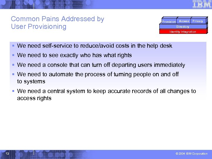 Common Pains Addressed by User Provisioning Access Provision Privacy Directory Identity Integration § We