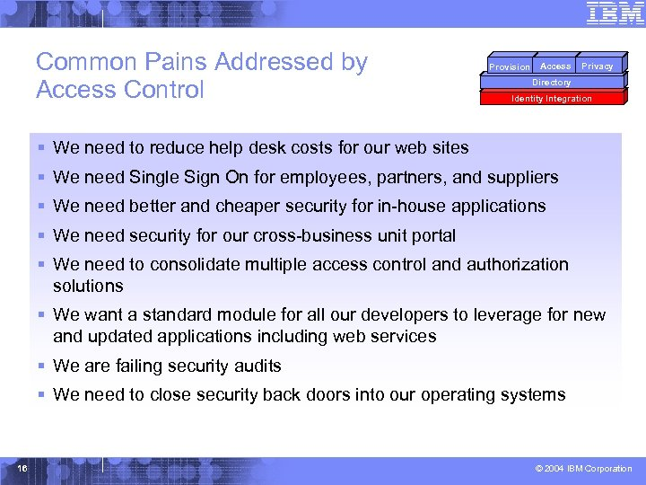 Common Pains Addressed by Access Control Provision Access Privacy Directory Identity Integration § We