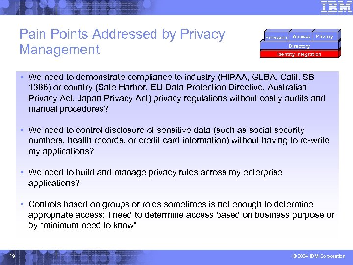 Pain Points Addressed by Privacy Management Provision Access Privacy Directory Identity Integration § We
