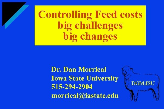 Controlling Feed costs big challenges big changes Dr. Dan Morrical Iowa State University 515