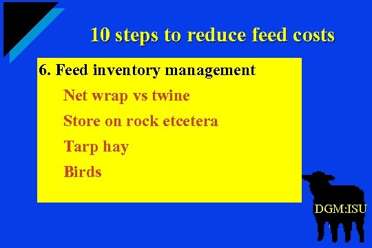 10 steps to reduce feed costs 6. Feed inventory management Net wrap vs twine