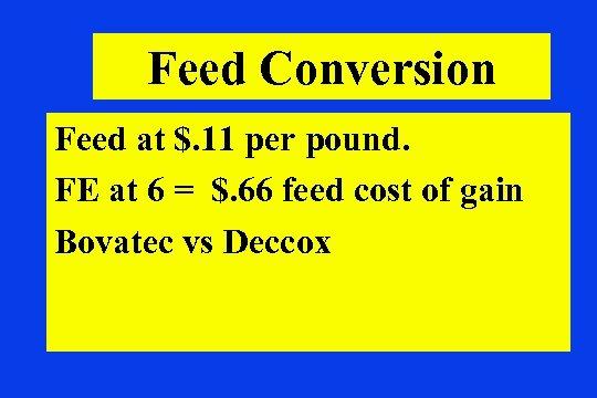 Feed Conversion Feed at $. 11 per pound. FE at 6 = $. 66