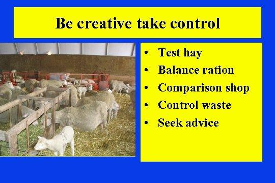 Be creative take control • • • Test hay Balance ration Comparison shop Control