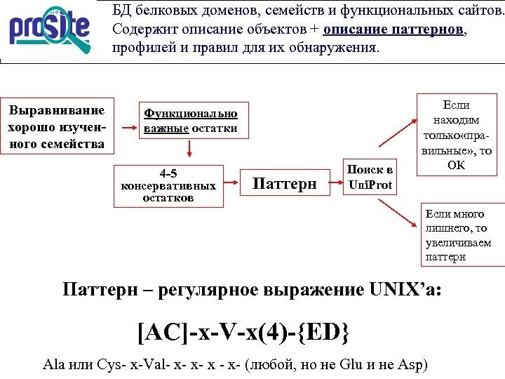 БД белковых доменов, семейств и функциональных сайтов. Содержит описание объектов + описание паттернов, профилей