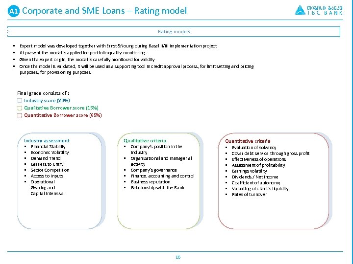 A 1 A. Corporate and SME Loans – Rating models > § § Expert
