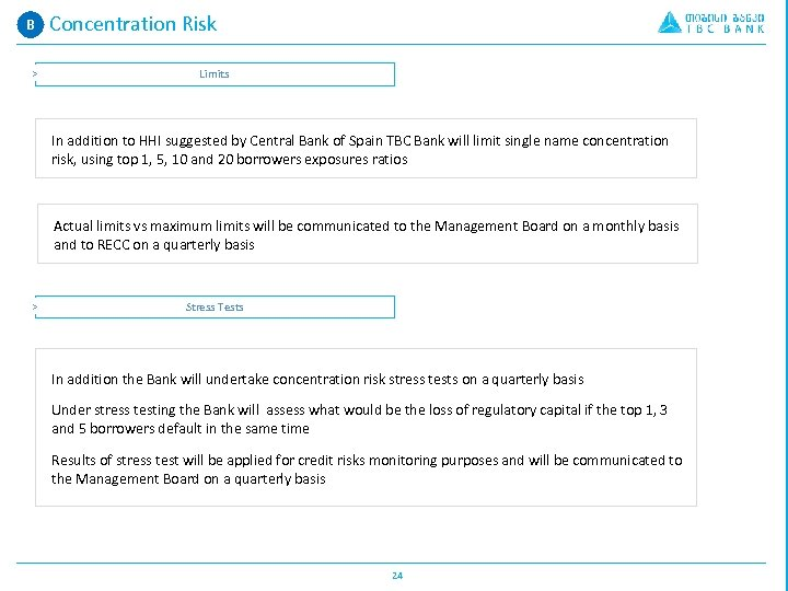 B A. Concentration Risk > Limits In addition to HHI suggested by Central Bank
