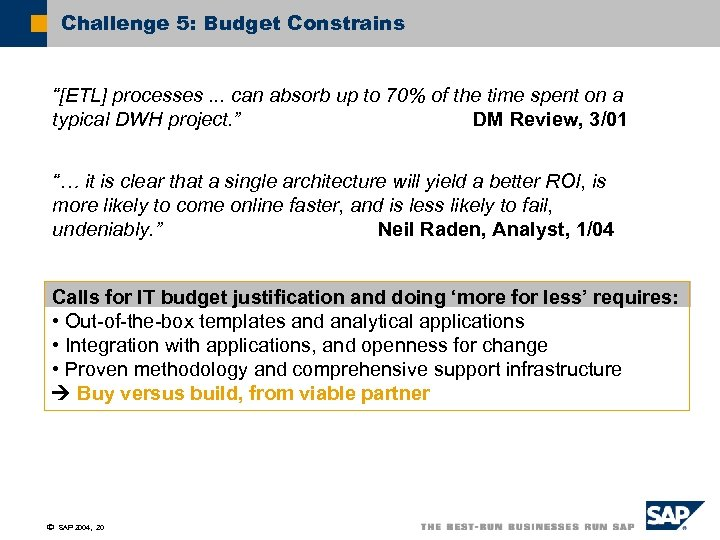 """Challenge 5: Budget Constrains """"[ETL] processes. . . can absorb up to 70% of"""