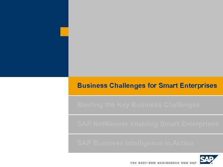 Business Challenges for Smart Enterprises Meeting the Key Business Challenges SAP Net. Weaver enabling