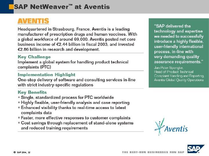 SAP Net. Weaver™ at Aventis ã SAP 2004, 32