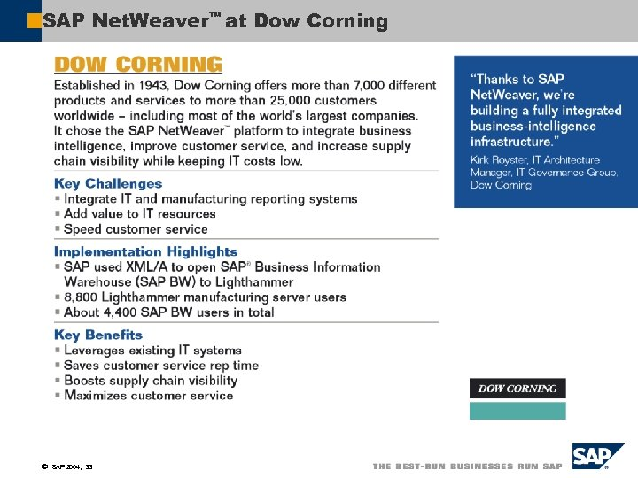 SAP Net. Weaver™ at Dow Corning ã SAP 2004, 33