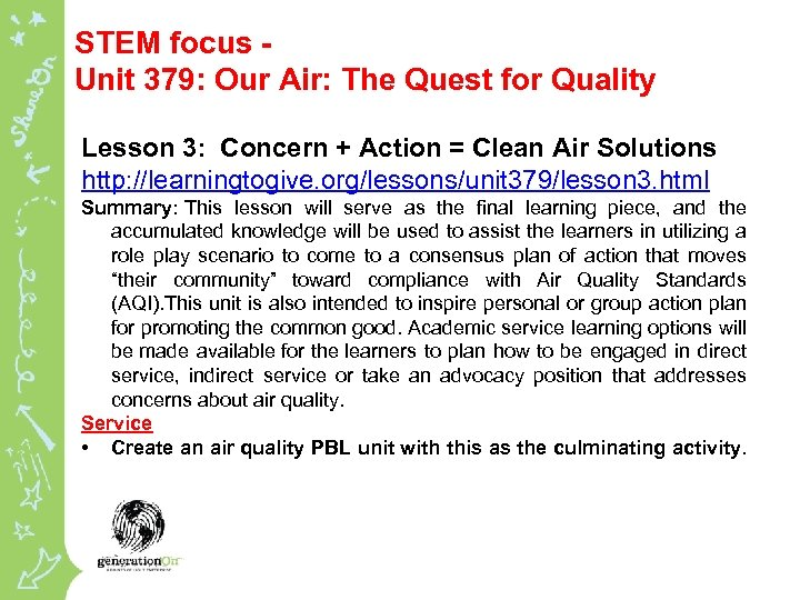 STEM focus - Unit 379: Our Air: The Quest for Quality Lesson 3: Concern