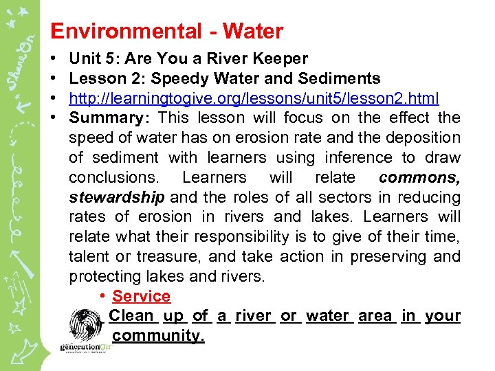Environmental - Water • • Unit 5: Are You a River Keeper Lesson 2: