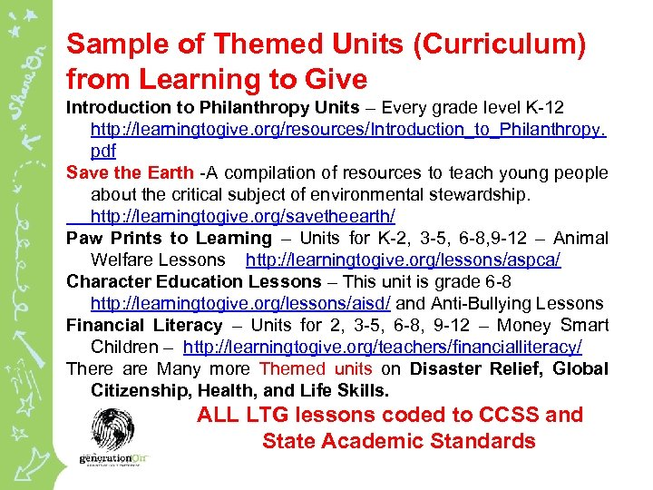 Sample of Themed Units (Curriculum) from Learning to Give Introduction to Philanthropy Units –